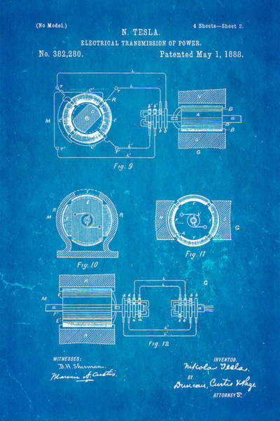 1888 Photograph - Tesla Electrical Transmission Of Power Patent Art 2 1888 Blueprint by Ian Monk