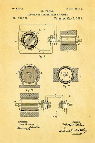 Transmission Wall Art - Photograph - Tesla Electrical Transmission Of Power Patent Art 2 1888 by Ian Monk