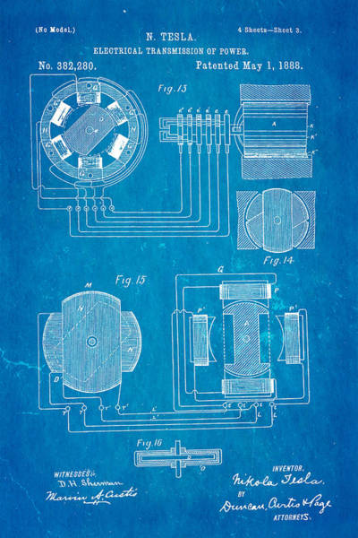 Inventor Photograph - Tesla Electrical Transmission Of Power Patent Art 3 1888 Blueprint by Ian Monk