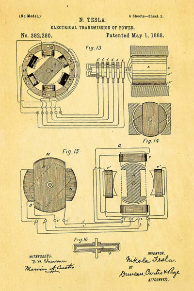 Inventor Photograph - Tesla Electrical Transmission Of Power Patent Art 3 1888 by Ian Monk