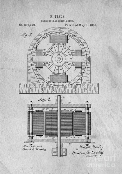 Create Digital Art - Tesla Electro Magnetic Motor Patent 1888 by Edward Fielding