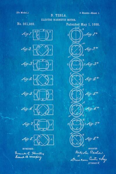 1888 Photograph - Tesla Electro Magnetic Motor Patent Art 1888 Blueprint by Ian Monk