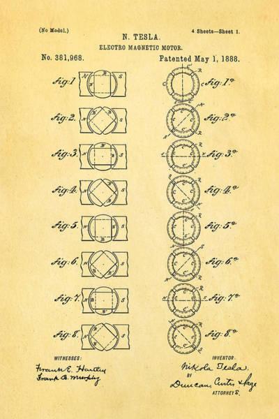 1888 Photograph - Tesla Electro Magnetic Motor Patent Art 1888 by Ian Monk