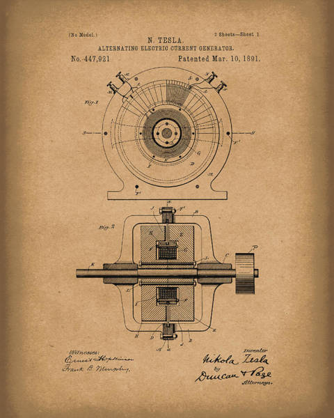 Wall Art - Drawing - Tesla Generator 1891 Patent Art  Brown by Prior Art Design