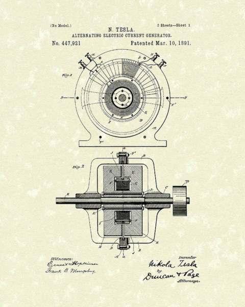 Patent Drawing Wall Art - Drawing - Tesla Generator 1891 Patent Art by Prior Art Design