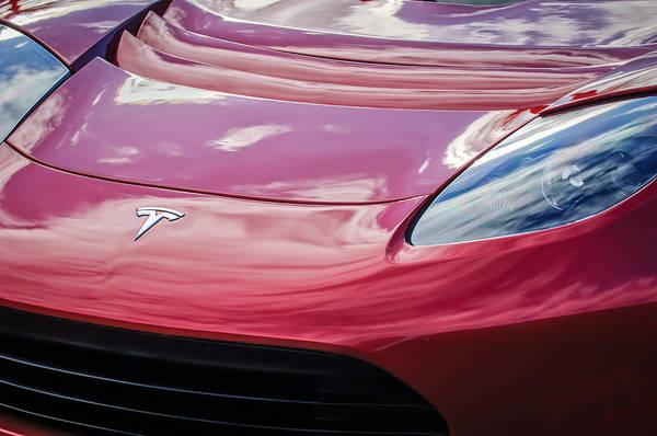 Photograph - Tesla Hood Emblem -0675c by Jill Reger