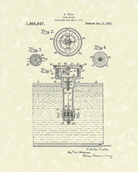 Wall Art - Drawing - Tesla Meter 1921 Patent Art by Prior Art Design