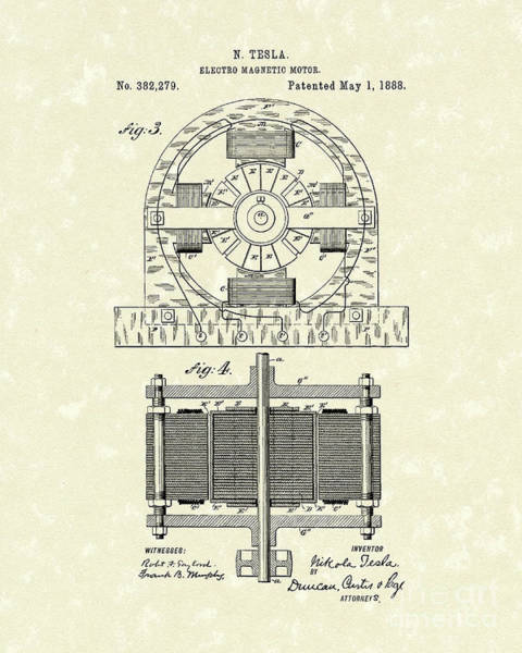 Wall Art - Drawing - Tesla Motor 1888 Patent Art by Prior Art Design