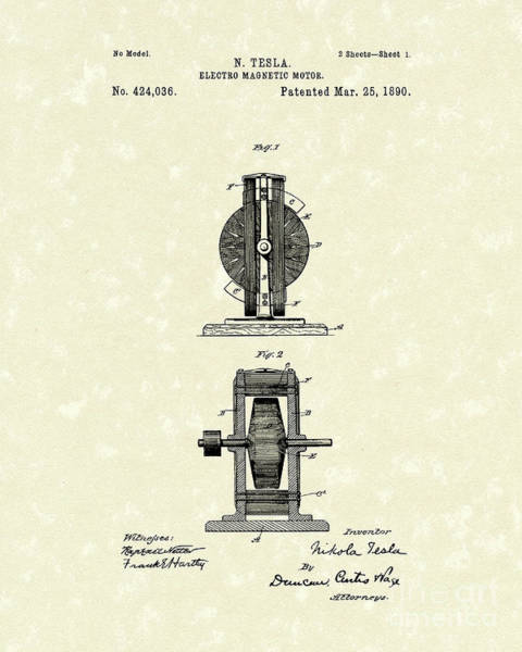 Wall Art - Drawing - Tesla Motor 1890 Patent Art by Prior Art Design