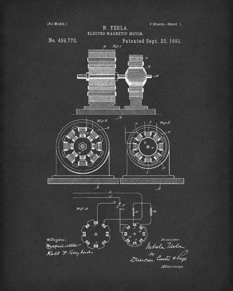 Wall Art - Drawing - Tesla Motor Sept 1891 Patent Art Black by Prior Art Design
