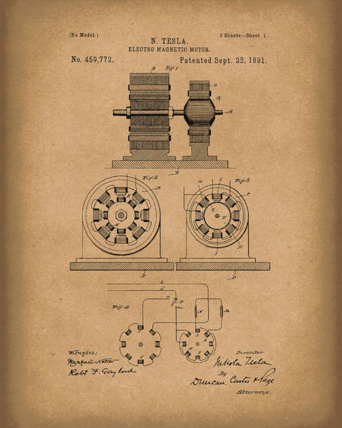 Wall Art - Drawing - Tesla Motor Sept 1891 Patent Art Brown by Prior Art Design