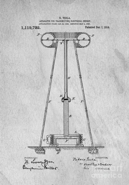 Digital Art - Tesla Patent For Transmitting Electrical Energy 1914 by Edward Fielding