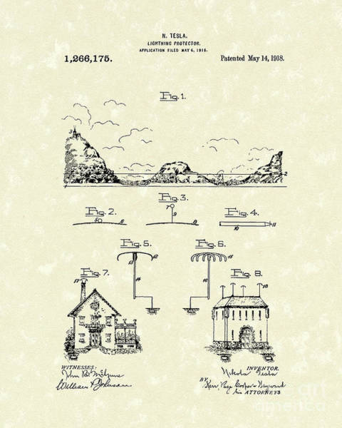 Wall Art - Drawing - Tesla Protector 1918 Patent Art by Prior Art Design