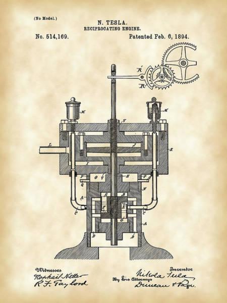 Wall Art - Digital Art - Tesla Reciprocating Engine Patent 1894 - Vintage by Stephen Younts