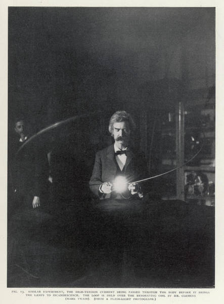 Wall Art - Photograph - Tesla's Coil Author Mark Twain Holds by Mary Evans Picture Library