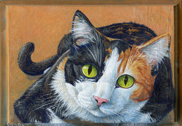 Calico Cat Painting - Tessi by Cara Bevan