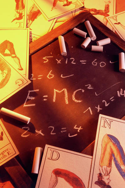 Mass-energy Equivalence Wall Art - Photograph - Test Answers Including E=mc2 On A Blackboard by Tony Craddock/science Photo Library