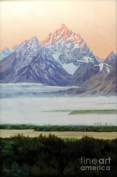 Trumpeter Swan Painting - Teton Morning by Sandra Williams