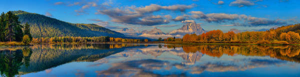 Photograph - Teton Panoramic Reflections At Oxbow Bend by Greg Norrell