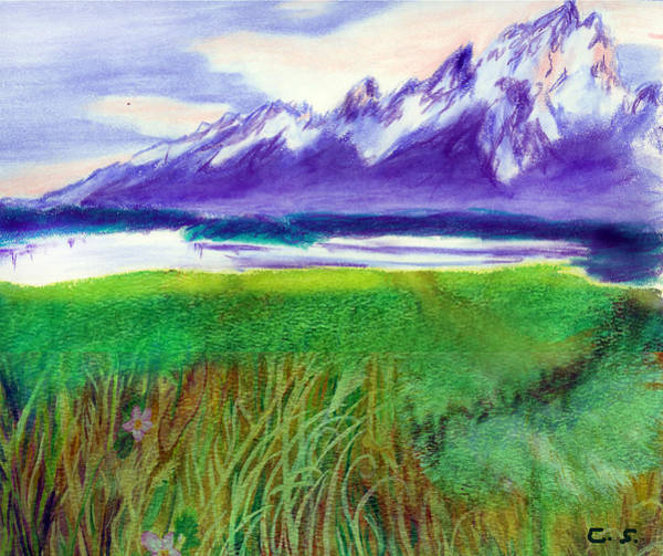 Mixed Media - Teton View by C Sitton