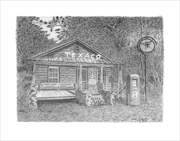 Gas Station Drawing - Texaco by Bob and Carol Garrison