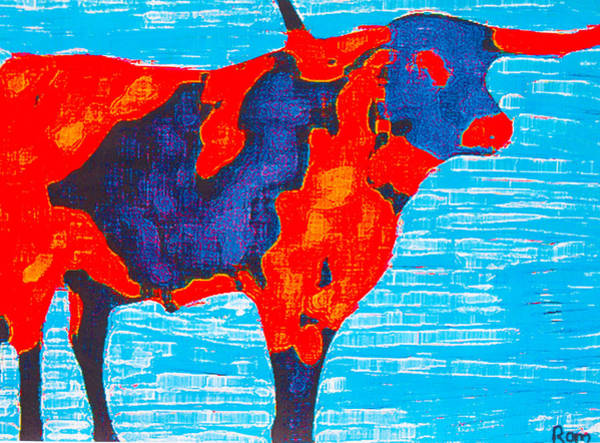 Longhorn Painting - Texan Longhorn by Robert Margetts