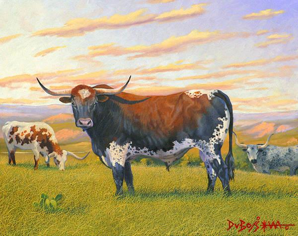 Longhorn Painting - Texas Bred by Howard Dubois