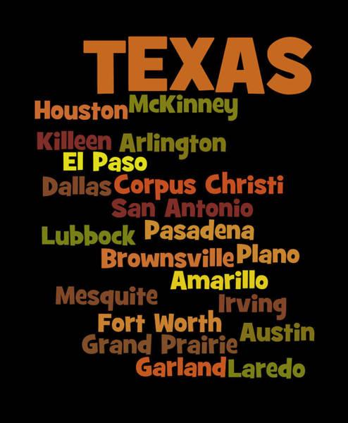 A To Z Digital Art - Texas Cities Wordart by Karl Jones