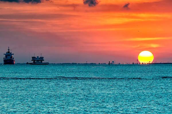 Sunset On The Houston Ship Channel Art Print