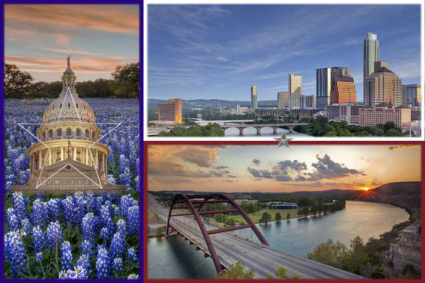 Capital Of Texas Wall Art - Photograph - Texas Flag With Bluebonnets The State Capitol The Austin Skyline And 360 Bridge by Rob Greebon