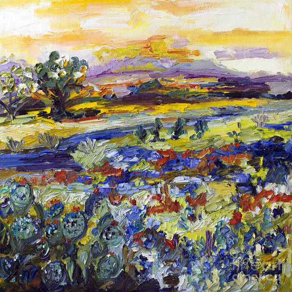 Painting - Texas Hill Country Bluebonnets And Indian Paintbrush Sunset Landscape by Ginette Callaway