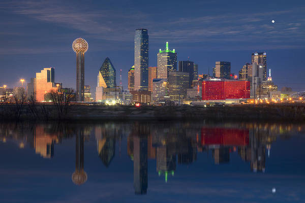 Texas Images - The Dallas Skyline Reflected In The Trinity River Art Print