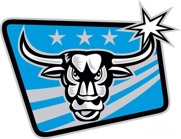Longhorn Digital Art - Texas Longhorn Bull Retro by Aloysius Patrimonio