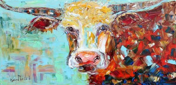 Longhorn Painting - Texas Longhorn by Karen Tarlton