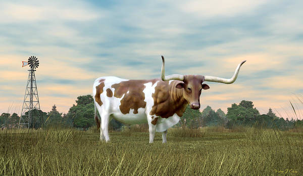 Mamal Digital Art - Texas Longhorn  by Walter Colvin