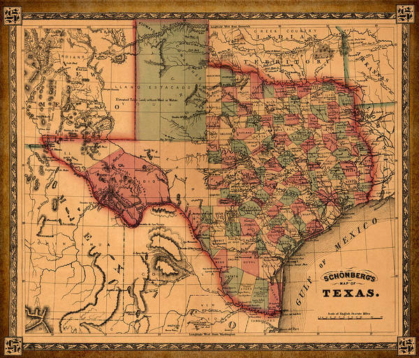 Wall Art - Drawing - Texas Map Art - Vintage Antique Map Of Texas by World Art Prints And Designs