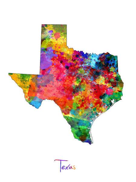 Lone Digital Art - Texas Map by Michael Tompsett