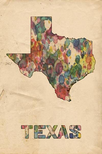 Wall Art - Painting - Texas Map Vintage Watercolor by Florian Rodarte