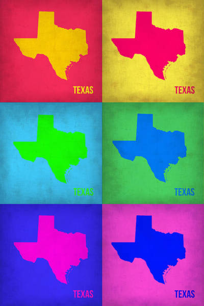 Wall Art - Painting - Texas Pop Art Map 1 by Naxart Studio