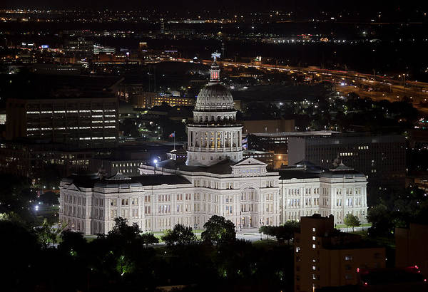 Texas Capitol Photograph - Texas State Capitol At Night by Rob Greebon