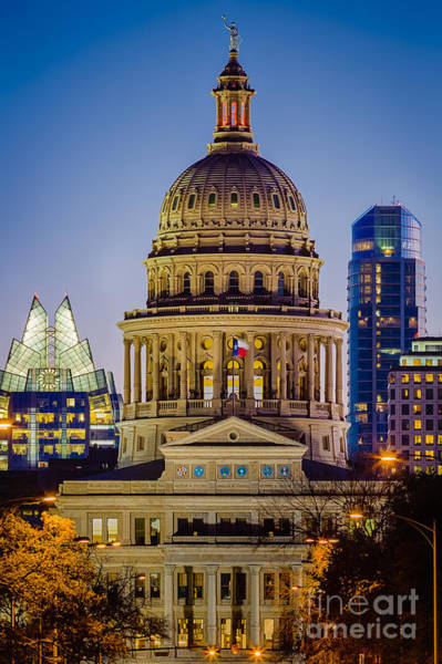 Texas Capitol Photograph - Texas State Capitol By Night by Inge Johnsson