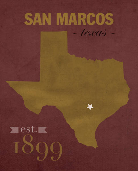 Wall Art - Mixed Media - Texas State University Bobcats San Marcos College Town State Map Poster Series No 108 by Design Turnpike