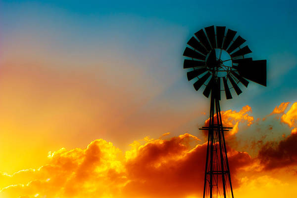 Windmills Photograph - Texas Sunrise by Darryl Dalton