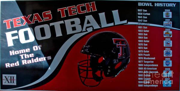 Photograph - Texas Tech Football History Chart by Mae Wertz