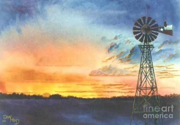 Wall Art - Mixed Media - Texas Windmill by Don Hand