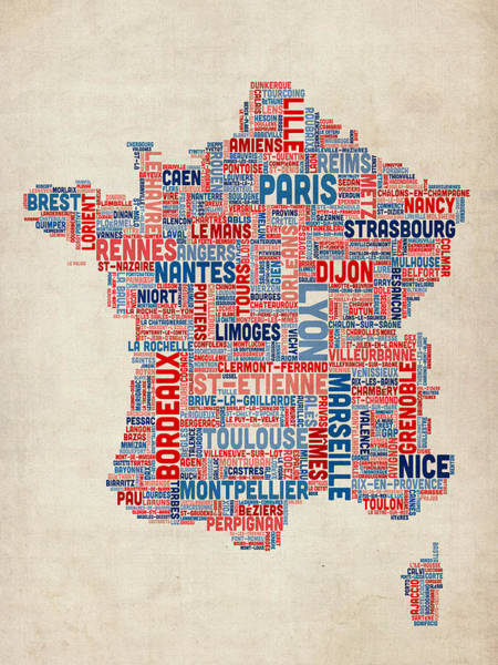 Text Wall Art - Digital Art - Text Map Of France Map by Michael Tompsett