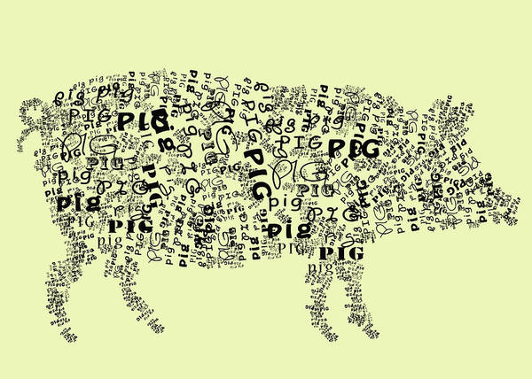 Wall Art - Digital Art - Text Pig by Heather Applegate
