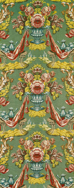 Decorative Drawing - Textile With A Repeating Floral Motif, Lyon Workshop, Circa 1730 Silk Brocade by French School