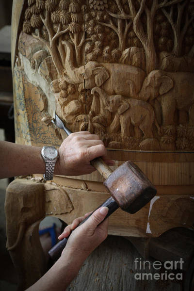 Thai Wall Art - Photograph - Thai Woodworker by Inge Johnsson