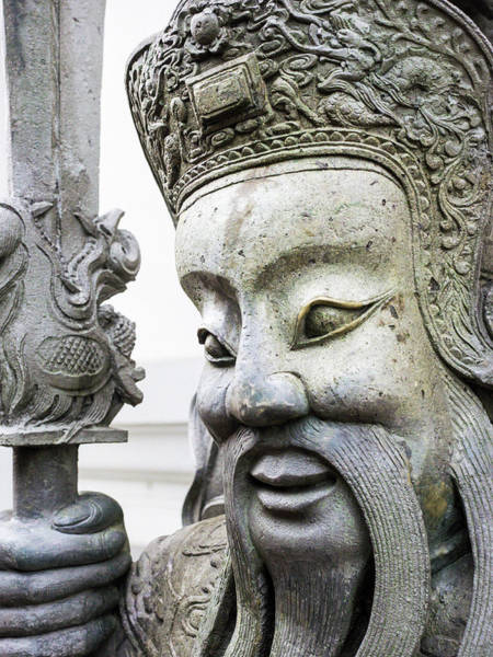 Buddhist Temple Wall Art - Photograph - Thailand, Bangkok, Chinese Warrior by Terry Eggers